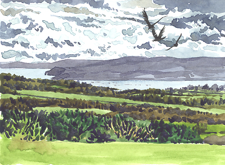 Watercolour sketch of the View from Woodbury Coommon