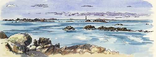 Watercolour sketch of the Western Rocks and the Bishop Rock Lighthouse in the middle.