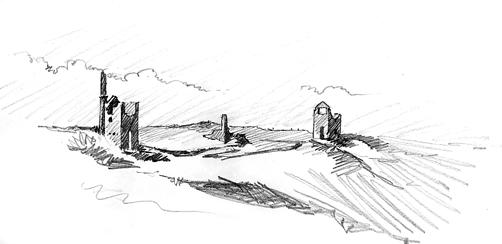 Pencil sketch of Wheal Edward