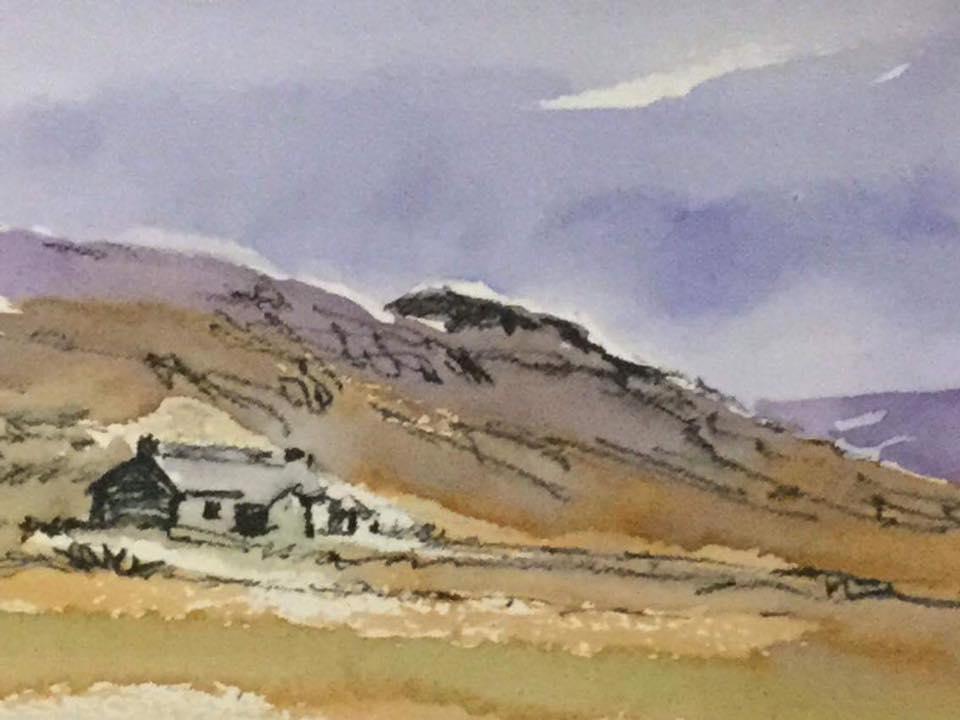 Ben Alder Bothy watercolour sketch