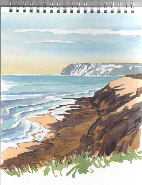 Watercolour sketch of Early Light on the Isle of Wight