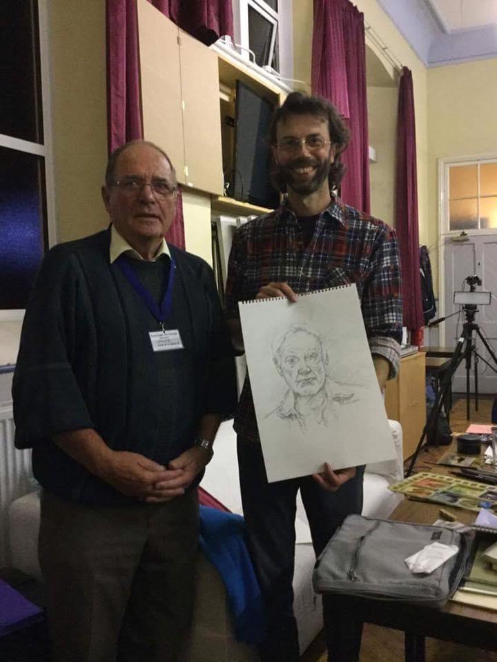 Photo of me & David at Exmouth Art Groups Sketching Demo.
