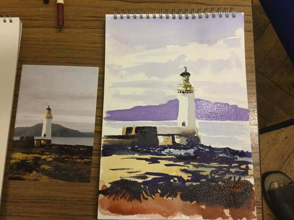 Watercolour Lighthouse sketch