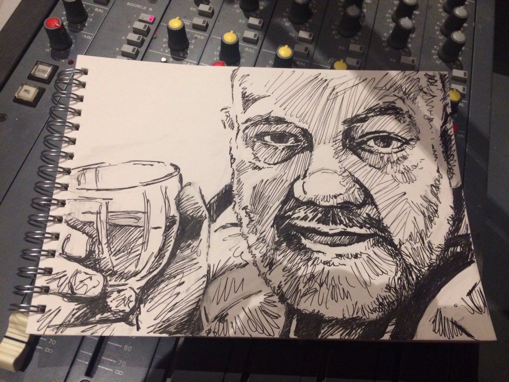 John Peel sketch on the mixing desk.