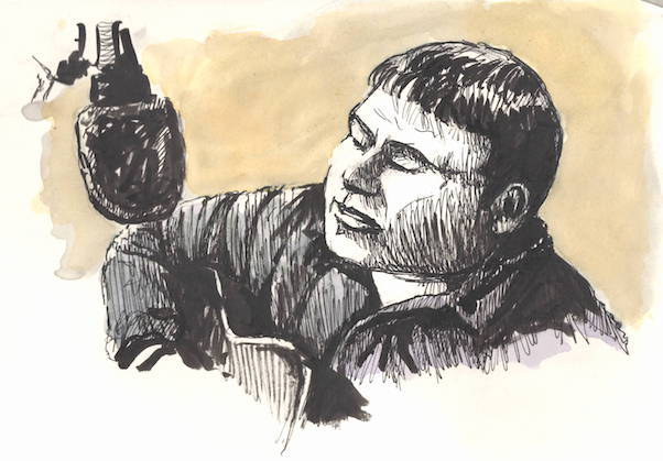 Pen sketch of Stuart Wills