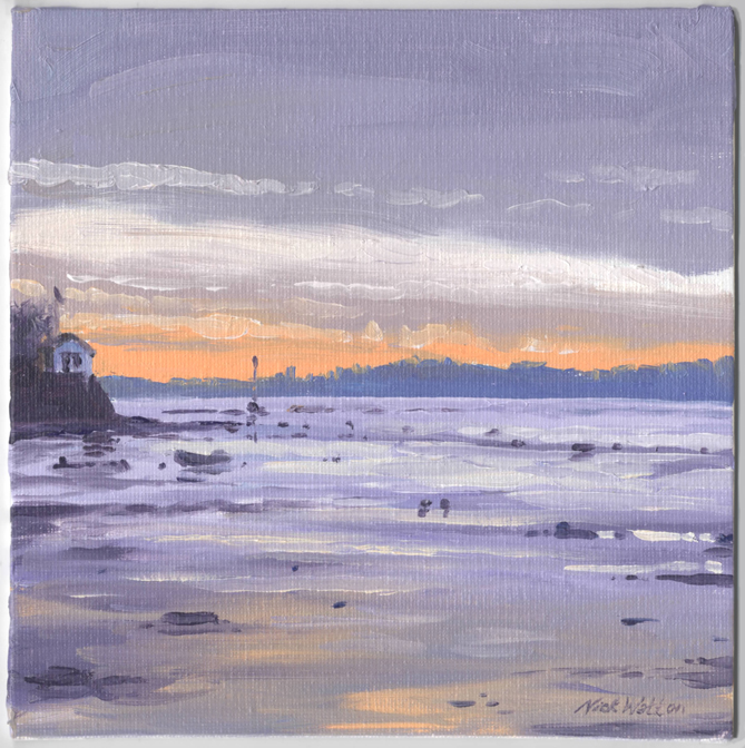 Oil painting of the sunset looking down the Exe Estuary.