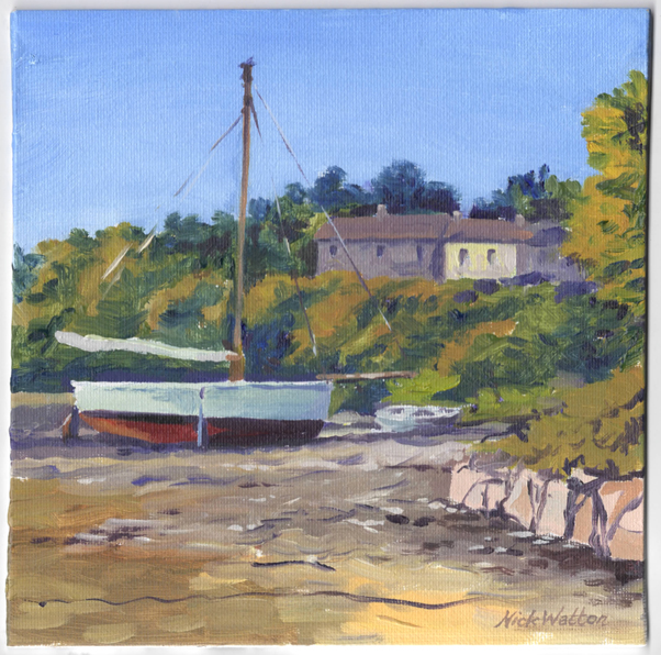 Oil painting of a boat drawn up on an estuary beach.