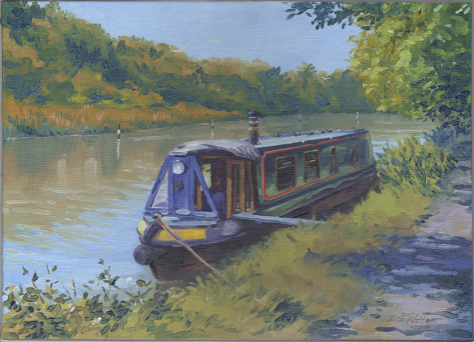 Tranquil oil painting of narrow boat moored by the tree lined canal.