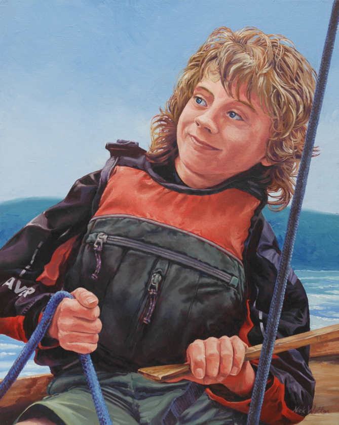 Oil painting of a boy in a lifejacket helming a dinghy.