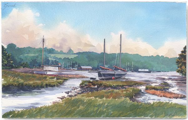 Tranquil watercolour of boats drawn up in a wooded estuary.