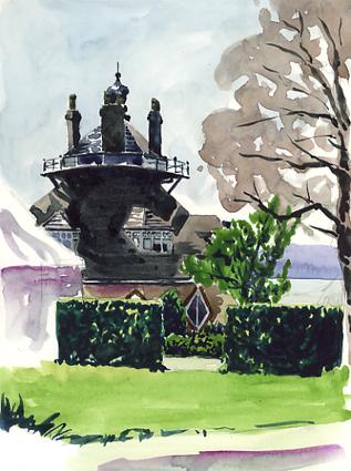 Watercolour sketch of A la Ronde