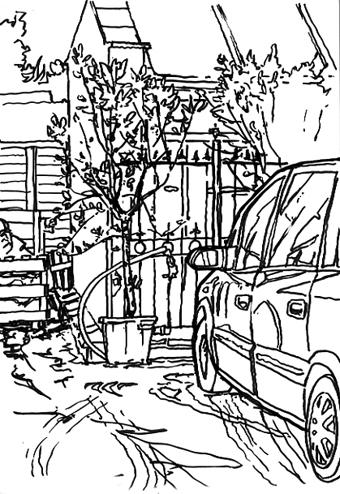 Pen sketch in the Garden Centre Car Park