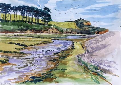 Watercolour sketch, 'Ebbing Tide' in the Otter Estuary.