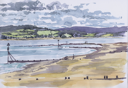 Watercolour sketch, looking west along Exmouth beach.