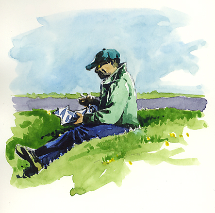 Watercolour sketch of someone eating their 'Fish & Chip Lunch'