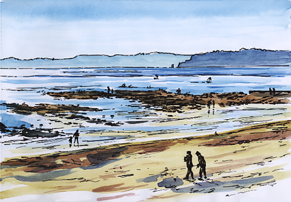Watercolour and pen sketch of people enjoying themselves on Exmouth Beach.