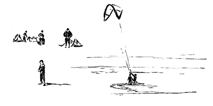 Pen sketch of Kite Surfers at Exmouth