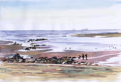 Watercolour sketch, Low Tide at Exmouth