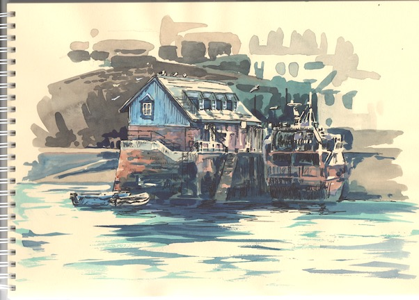 Watercolour and pen sketch of one of the buildings on Mevagissey's Inner Harbour