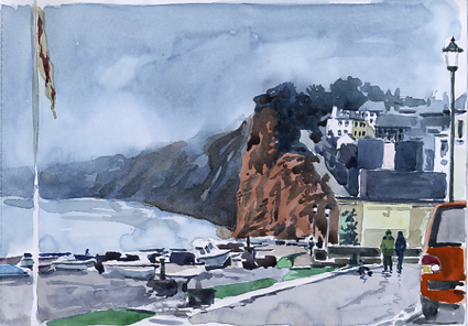 Watercolour sketch of a misty, wet day at Budleigh Salterton.