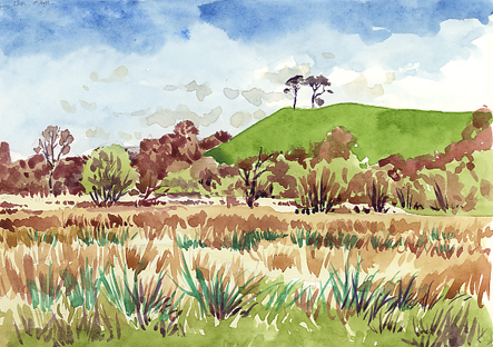 Watercolour of the Otter Valley