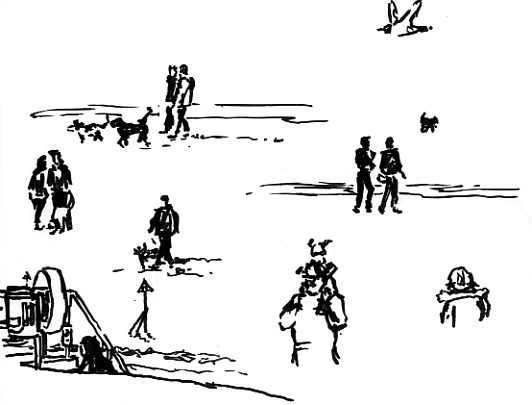 Pen sketches of People on Exmouth seafront