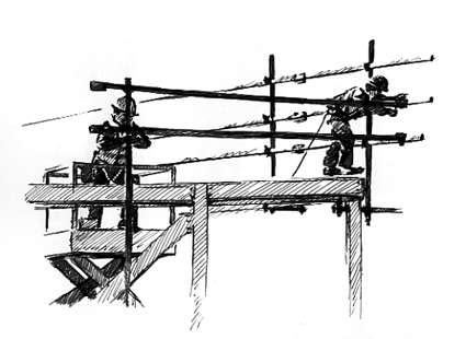 Pen sketch of workmen up on the 'Scaff'.