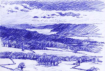 Biro sketch of the Exe Estuary and Teignmouth