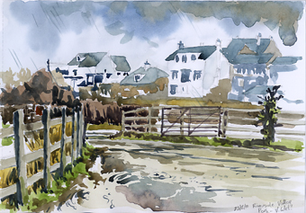 Watercolour sketch, 'Wet and windy Exe Estuary.'