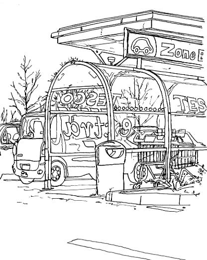 Pen sketch of Zone B in Tesco's car park.