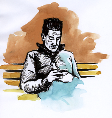 Pen and watercolour sketch of a lad on the phone