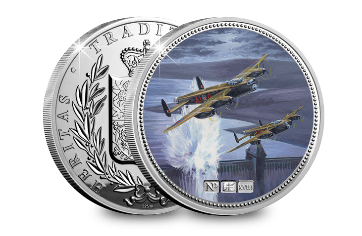 Image of both sides of the Dambusters Silver NumisProof Medal. On the medal there is an illustration of two Lancaster bombers flying over a dam, painted in oil.