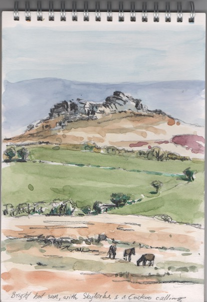 Watercolour and pencil sketch of Hound Tor