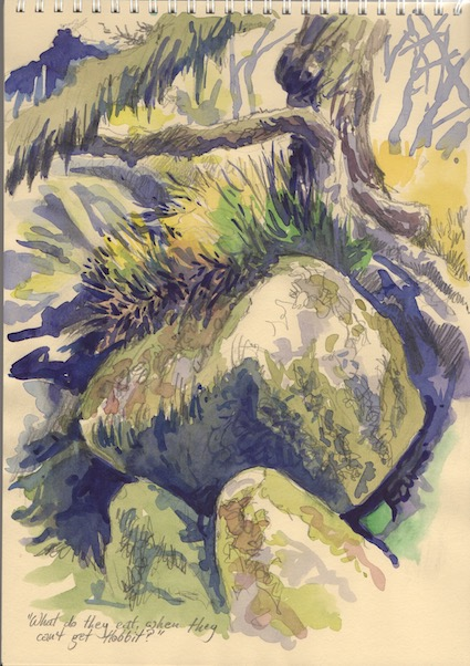 Watercolour sketch in Wistman's Wood