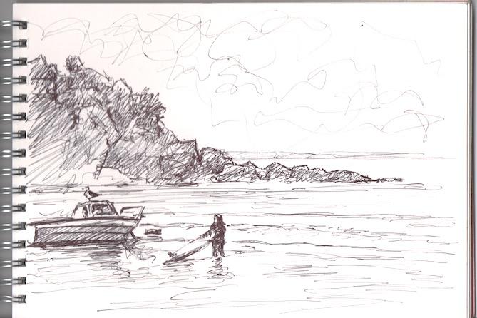 Pen sketch on Portmellon beach.