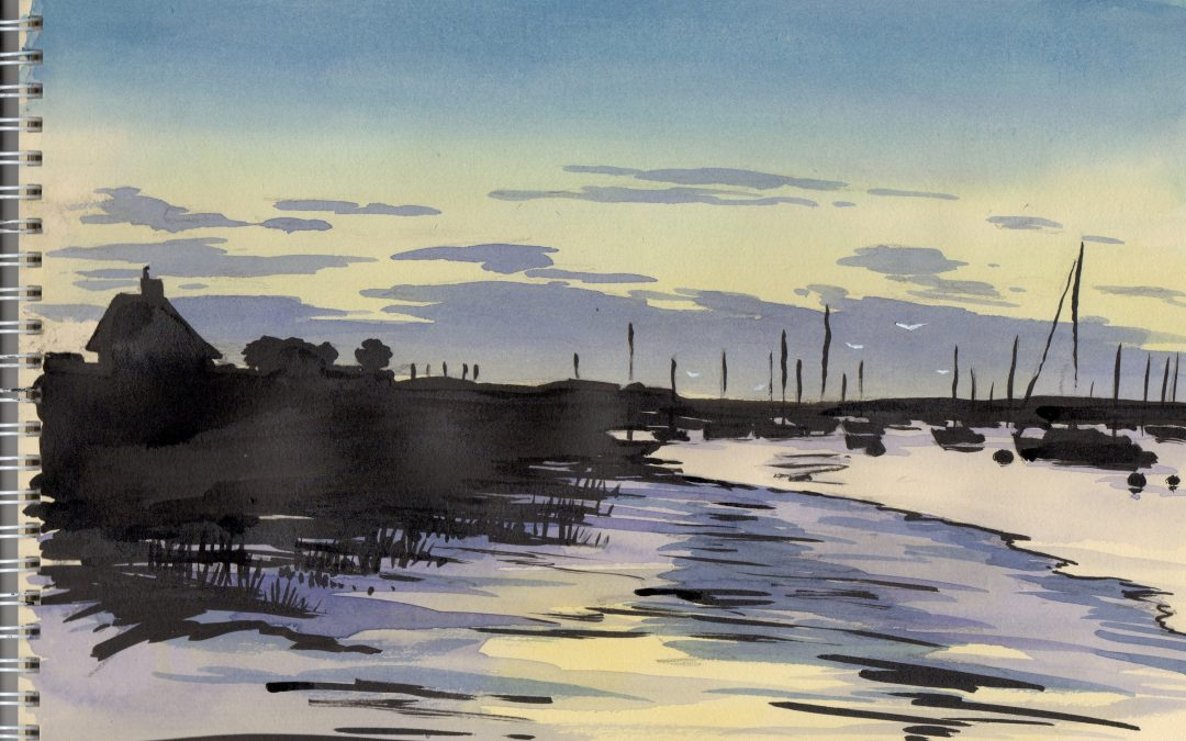 Watercolour and black ink painting of the evening light over the River Exe.