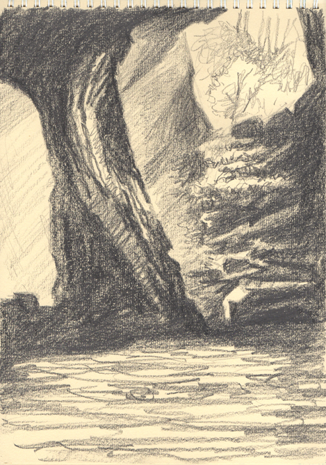 'Cathedral Cavern Pencil Sketch'