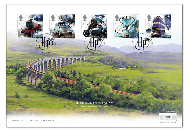 Harry Potter first day cover, with five stamps along the top. In the background there is a oil painting of Glenfinnan Viaduct Cover.