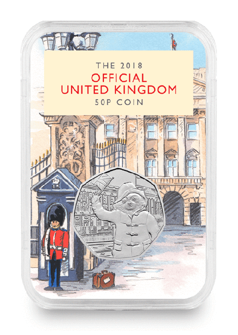 Paddington 50p capsule, with a watercolour illustration of soldier outside Buckingham Palace.