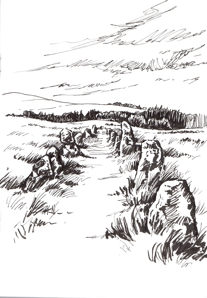 Pen sketch of Shovel Downs Stone Row