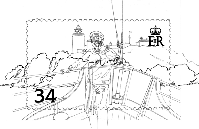 Pencil drawing for the SS Stella - In The Bow postage stamp design.