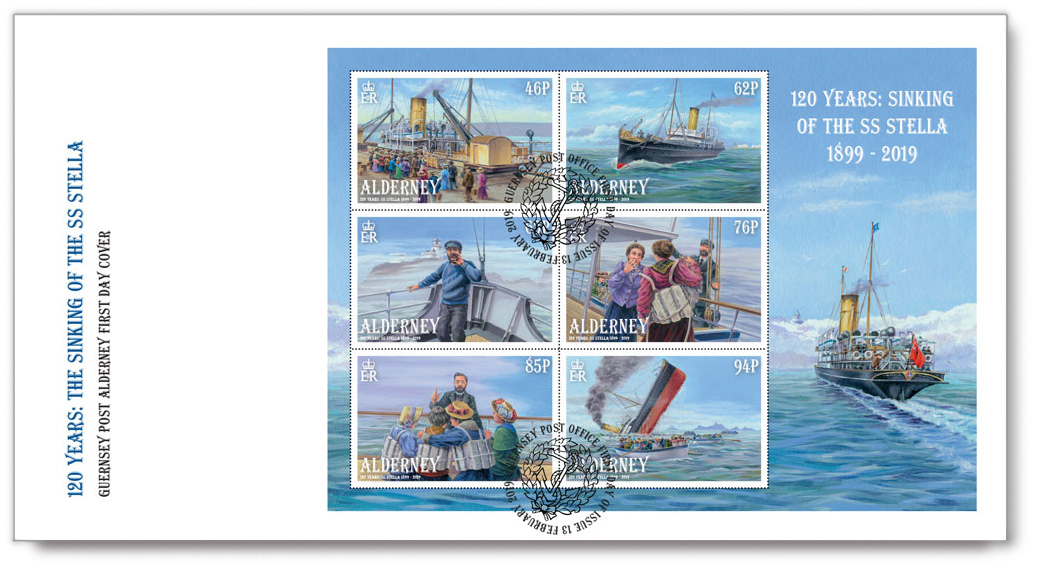 First Day Cover, with the Souvenir Sheet for the Sinking of the SS Stella postage stamps.