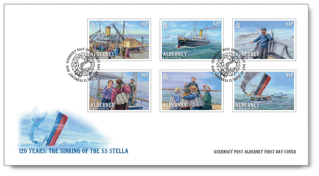 First Day Cover with the six Alderney postage stamps for the Sinking of the SS Stella.