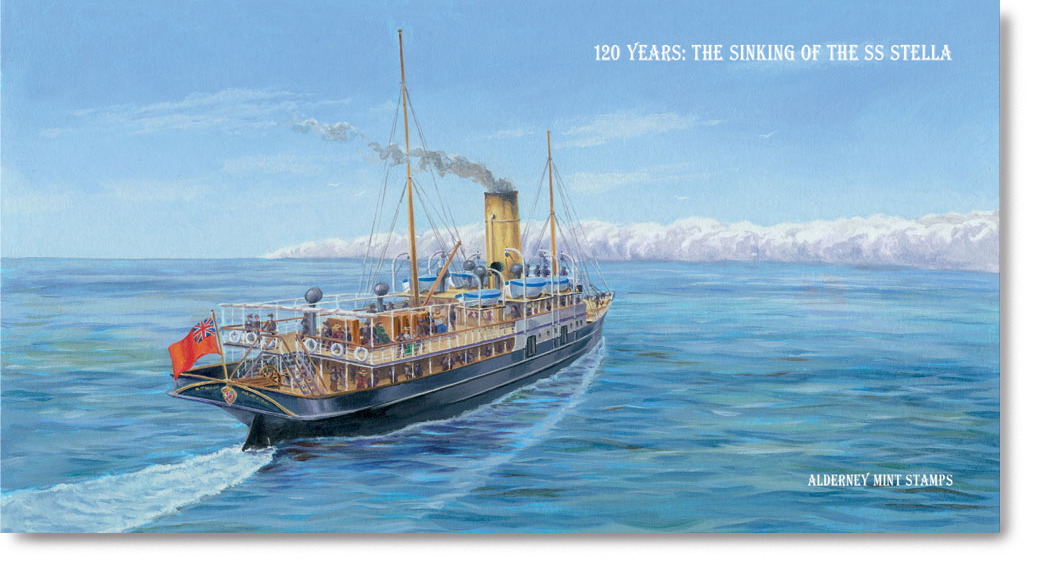 Postage stamp Presentation Pack with an illustration of the SS Stella sailing along.