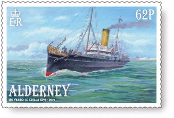 Oil painted artwork of the SS Stella on a stamp for Alderney.