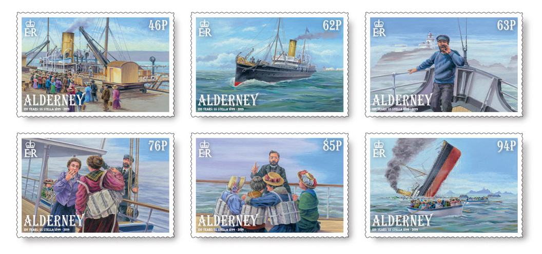 Six Alderney postage stamps showing the sinking of the SS Stella.