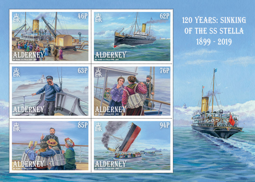 Six postage stamps on a Souvenir Sheet with a small illustration of the SS Stella sailing along.