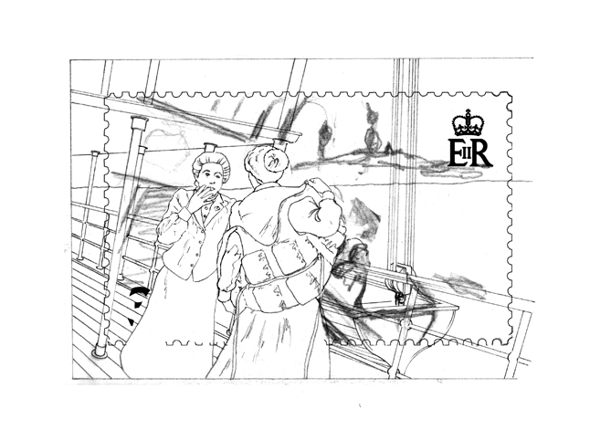 Working drawing for the SS Stella - 'Mary Rogers' postage stamp design.