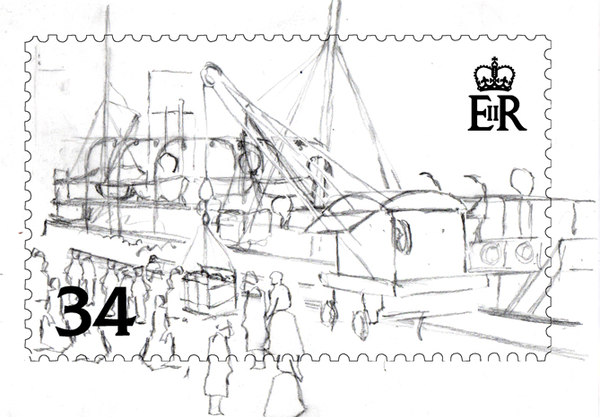 Pencil sketch for the SS Stella - 'Boarding' postage stamp design.