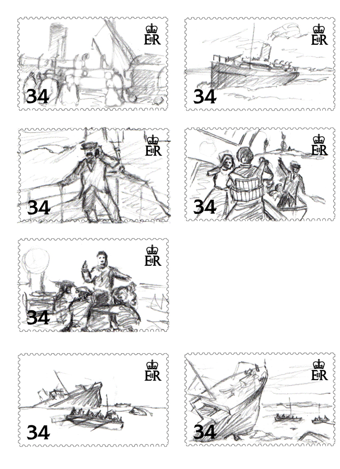 Seven thumbnail sketches for the SS Stella postage stamp designs.
